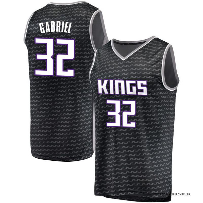 Fanatics Branded Sacramento Kings Swingman Black Wenyen Gabriel Fast Break Jersey - Statement Edition - Youth