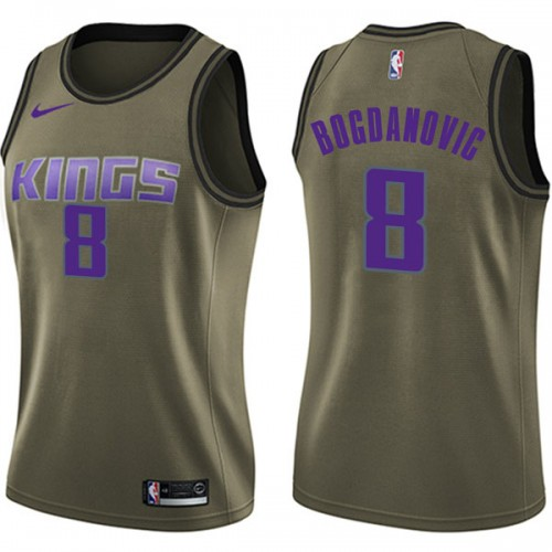 Nike Sacramento Kings Swingman Green Bogdan Bogdanovic Salute to Service Jersey - Women's