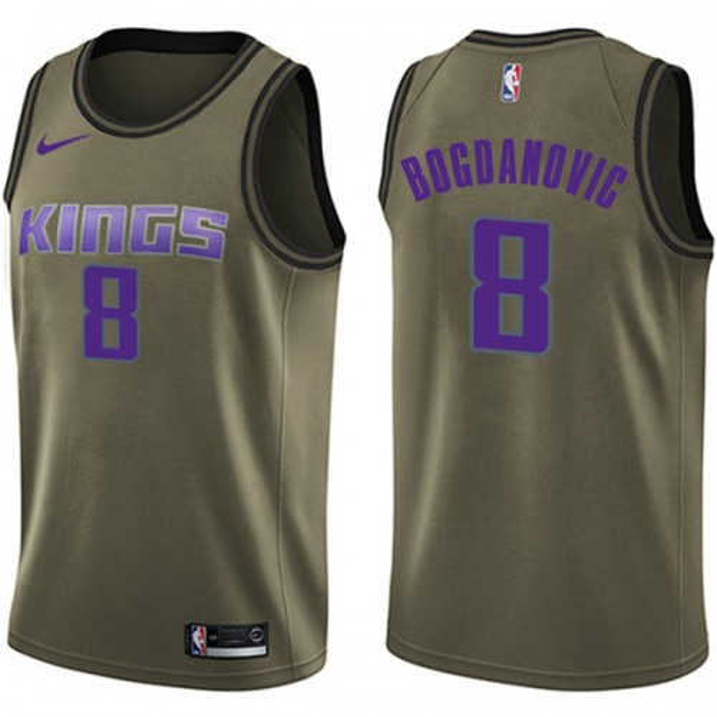 Nike Sacramento Kings Swingman Green Bogdan Bogdanovic Salute to Service Jersey - Youth