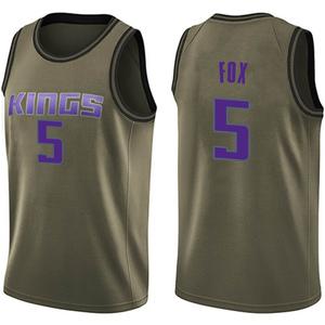 Nike Sacramento Kings Swingman Green Deaaron Fox Salute to Service Jersey - Youth