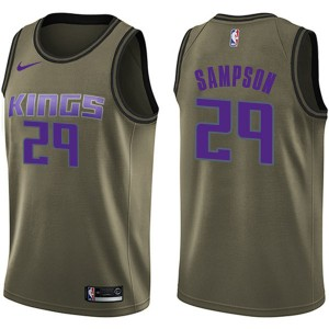 Nike Sacramento Kings Swingman Green Jakarr Sampson Salute to Service Jersey - Youth